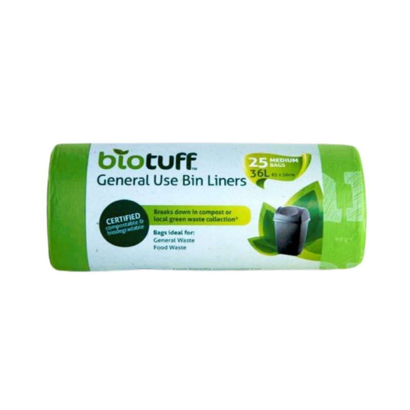 General Use Bin Liners Medium 36L - 25 Bags | Biotuff | Zenko