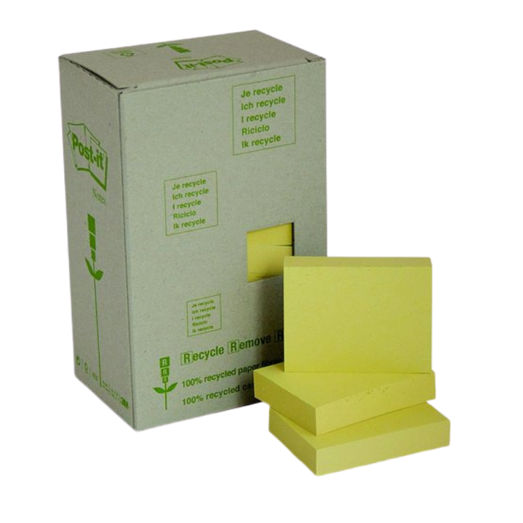 Post-It Notes 100% Recycled 36 x 48mm Yellow 24 Pack | Post-It | Zenko