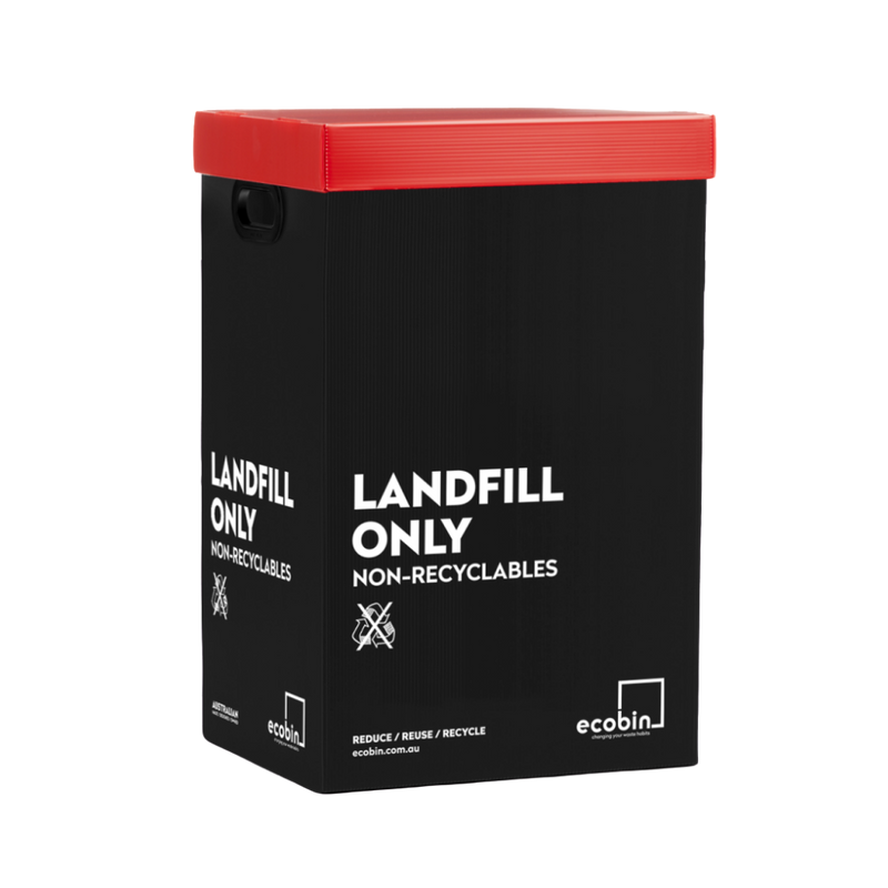 Landfill Office Waste Bin Black & Red Ecobin 60 Litre | Zenko