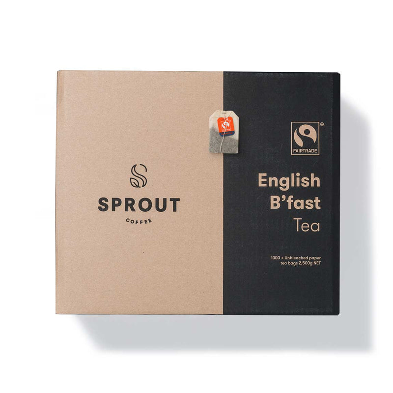 English Breakfast Tea Fairtrade Organic 1,000 Tea Bags | Sprout Coffee
