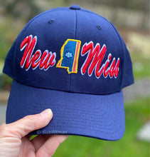"Load image into Gallery viewer, Limited Edition Navy Flat brim Limited Edition ""New Miss/New State Flag"" baseball hat"