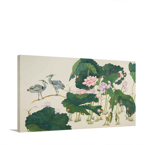 Herons in Lotus Pond II