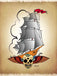 Old Ship Tattoo Skull II