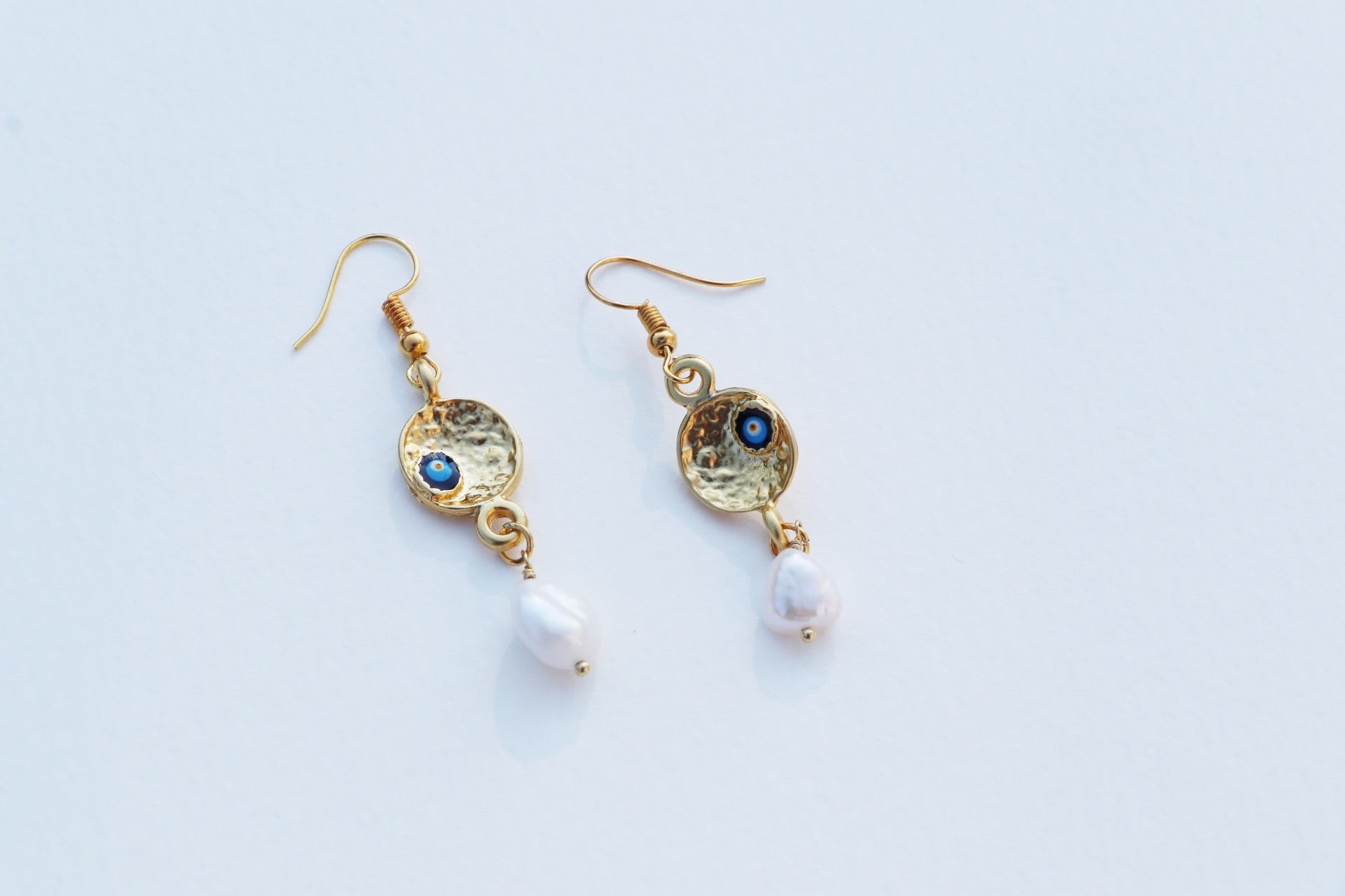 Evil Eye Pearl Drop Earrings
