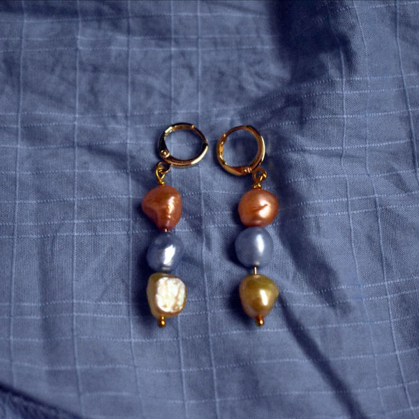 Meta Orange Gold Blue Trio earrings