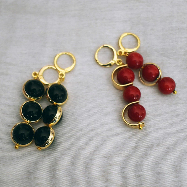 Coral or Onyx asymmetric earrings