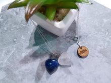 "Load image into Gallery viewer, Lapis Lazuli and Rose Quartz hearts together 18"" Sterling Silver necklace"