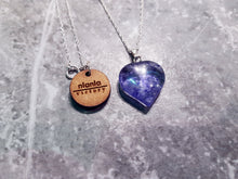 Load image into Gallery viewer, Ink Hearts, Blueberry Quartz hearts on Sterling Silver necklace