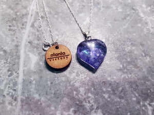 Ink Hearts, Blueberry Quartz hearts on Sterling Silver necklace