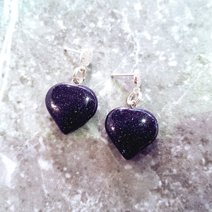Blue Goldstone Hearts Sterling Silver and Cubic Zirconia Stud Earrings