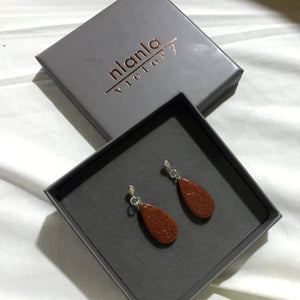 Brown Goldstone Teardrops on Sterling Silver Stud Earrings
