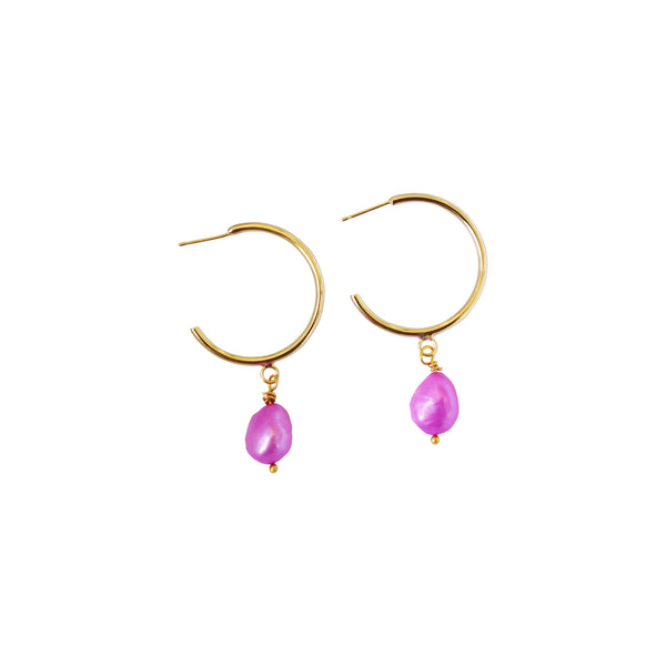 Bubblegum pink freshwater pearl earrings