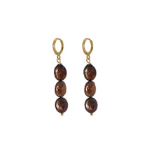Load image into Gallery viewer, Choco Trio 3 chocolate freshwater pearl earrings