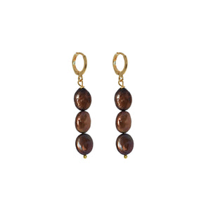 Choco Trio 3 chocolate freshwater pearl earrings