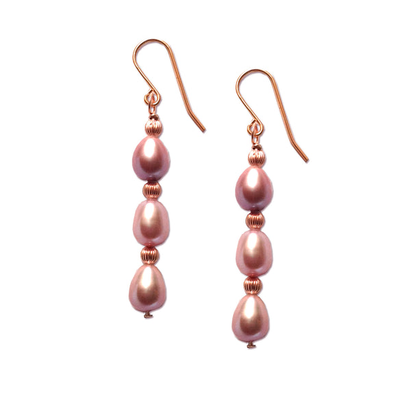 Pink Pearls, Rose Quartz and Yellow 9k Gold earrings