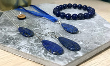Load image into Gallery viewer, Lapis Lazuli Teardrops Sterling Silver earrings