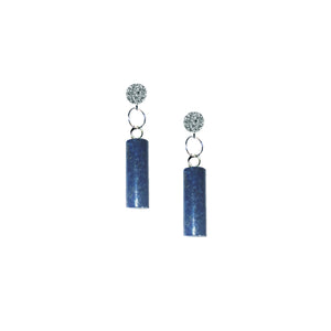 Lapis Lazuli Cylinder Sterling Silver Stud Earrings