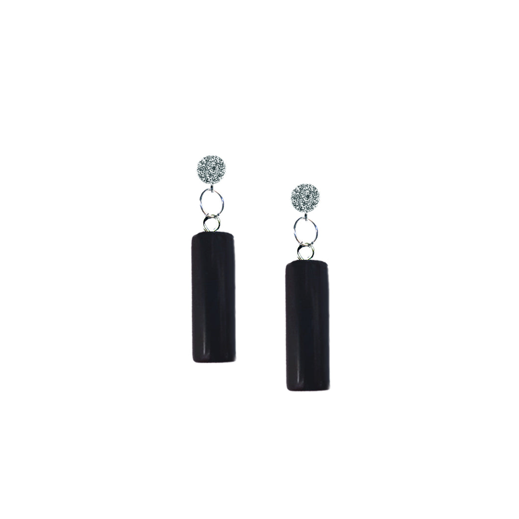 Onyx Cylinder Sterling Silver Stud Earrings