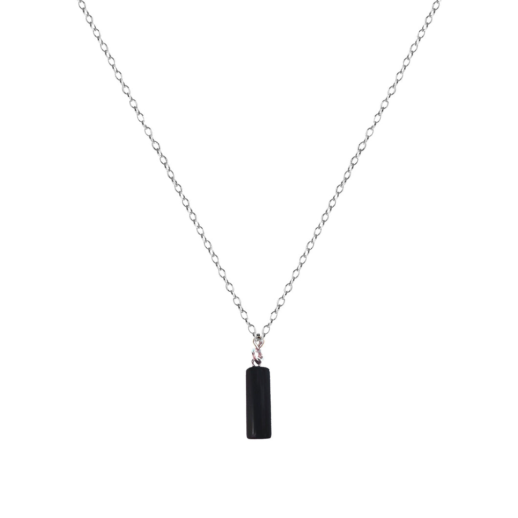 Onyx Cylinder Sterling Silver Necklace