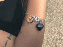 Load image into Gallery viewer, Onyx Heart Sterling Silver Bracelet