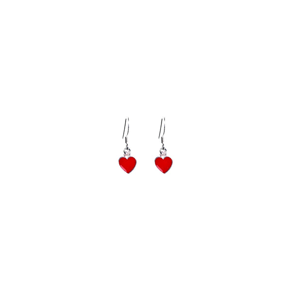 Classic Red Hearts Earrings, Playing Cards inspired Queen of Hearts