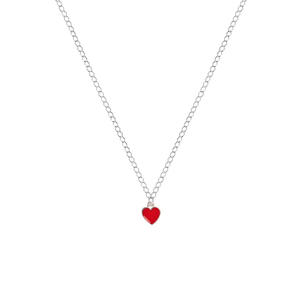 Classic Red Heart Necklace, Playing Cards inspired Queen of Hearts