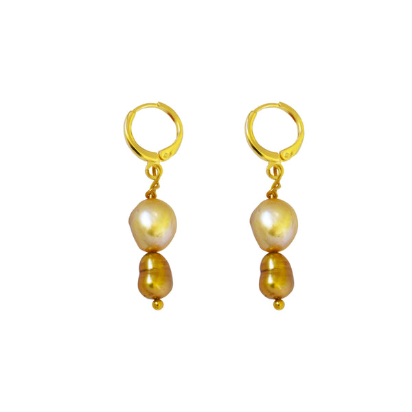 So Gold,  Gold Tone Pearl Earrings