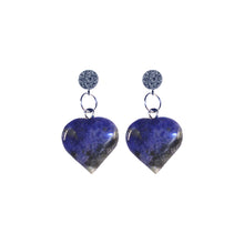 Load image into Gallery viewer, Sodalite Blue Gemstone Hearts Sterling Silver and Cubic Zirconia Stud Earrings