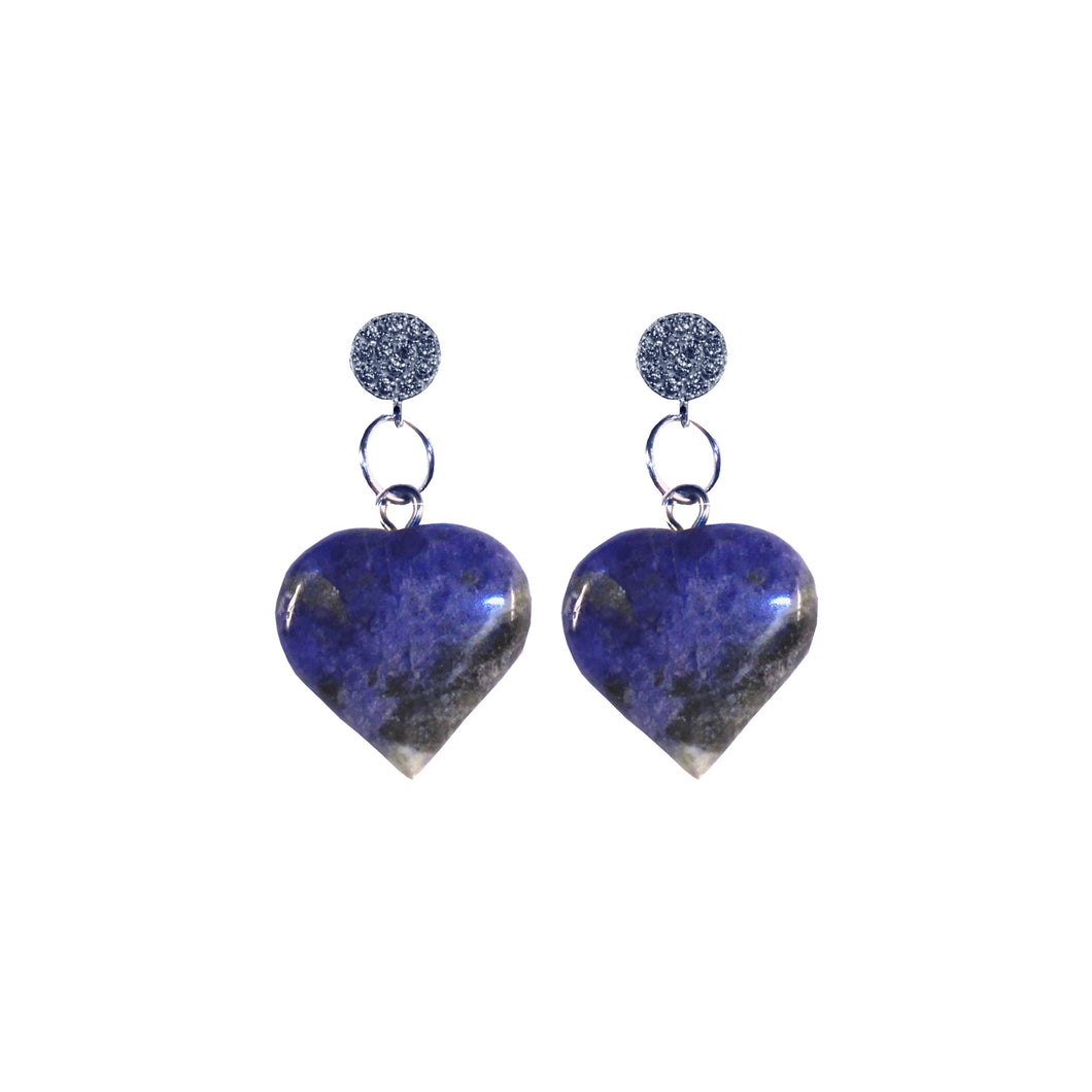 Sodalite Blue Gemstone Hearts Sterling Silver and Cubic Zirconia Stud Earrings