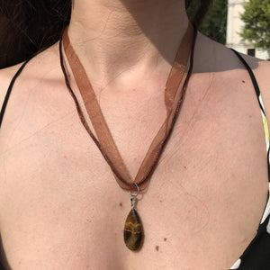 Tiger Eye Brown Organza Ribbon and Necklace