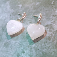 Load image into Gallery viewer, White Quartz Heart Sterling Silver Earrings