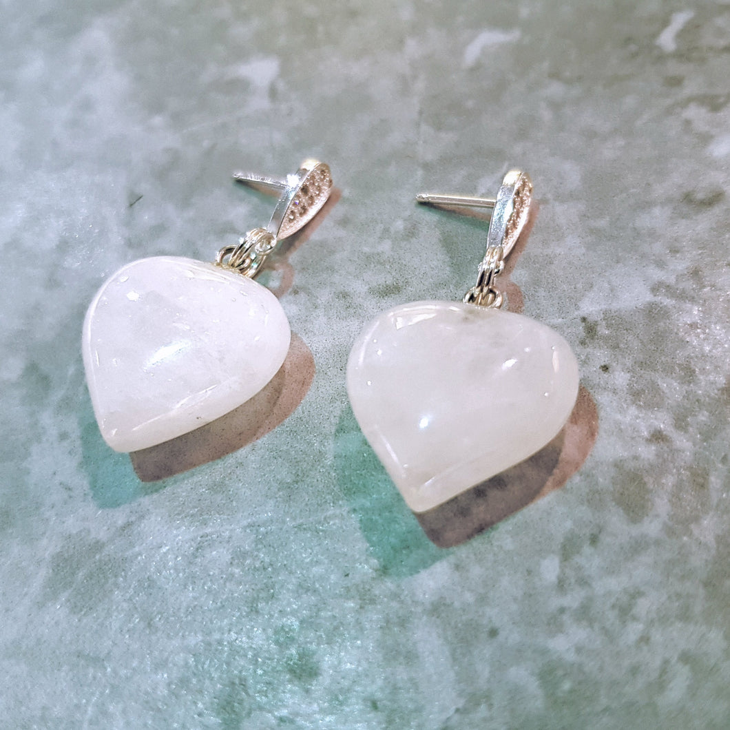White Quartz Heart Sterling Silver Earrings