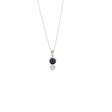 Load image into Gallery viewer, ala, black freshwater pearl encased in silver, .925 sterling silver necklace