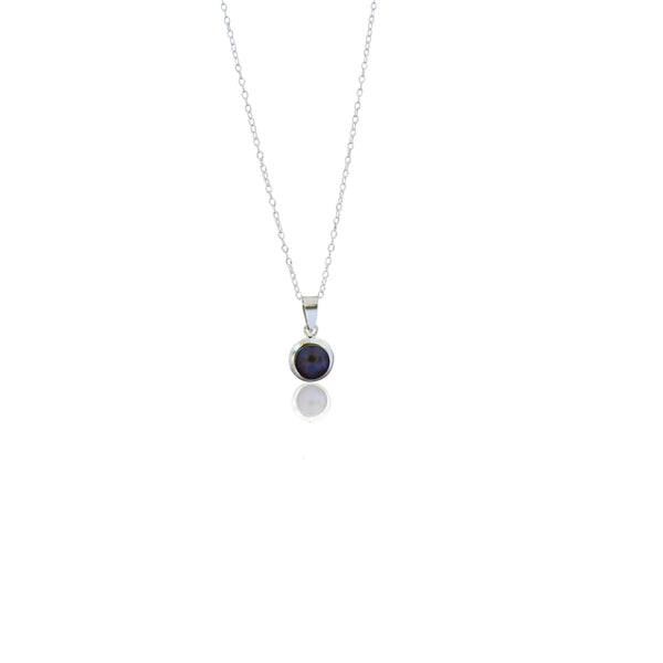 ala, black freshwater pearl encased in silver, .925 sterling silver necklace