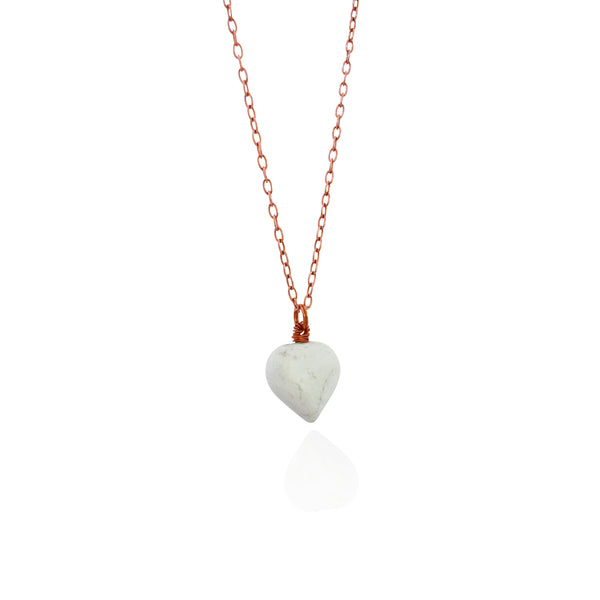 amọ amọ, White howlite Rose Gold vermeil necklace