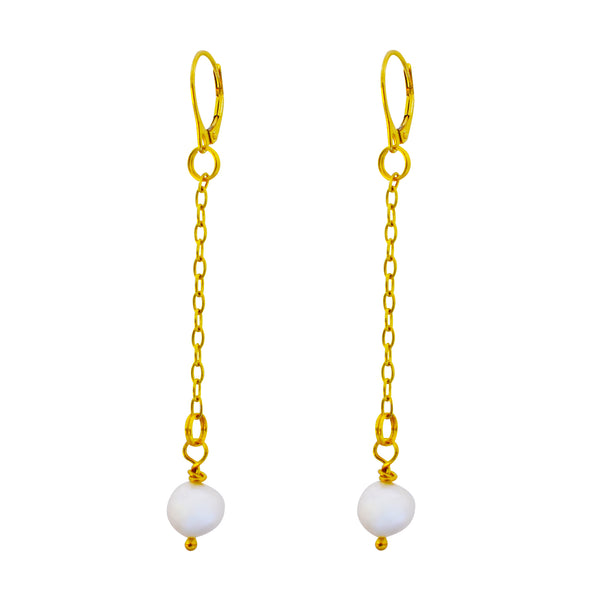 a pearl, Freshwater Pearl Yellow Gold vermeil earrings