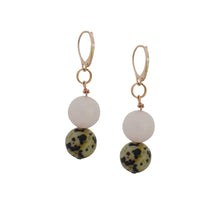 Load image into Gallery viewer, Cheerful, Dalmatian Jasper and Rose Quartz Rose Gold vermeil earrings