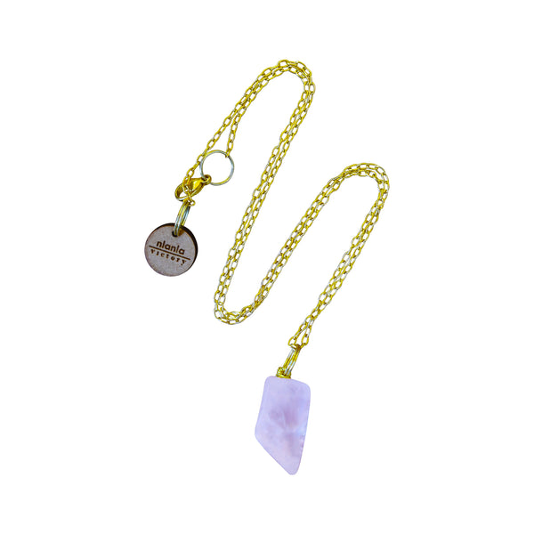 Berè ẹgba necklace, Rose Quartz and Yellow Gold vermeil necklace