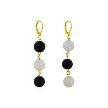 Load image into Gallery viewer, dudu + funfun, White Agate and Black Onyx Yellow Gold vermeil earrings