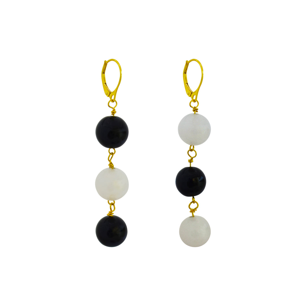 dudu + funfun, White Agate and Black Onyx Yellow Gold vermeil earrings