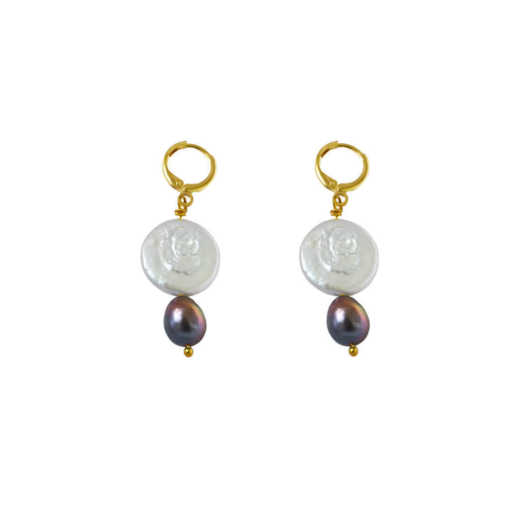 Coin Pearl Earrings with purple pearl