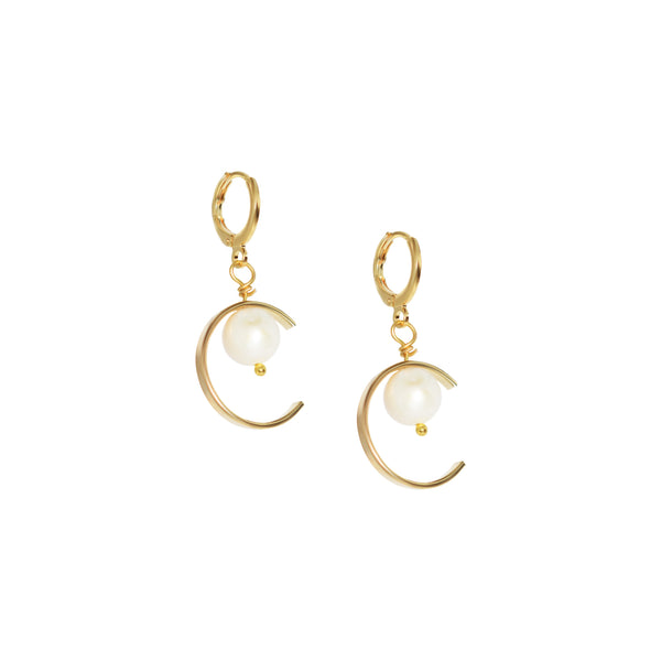 Mystery circle and freshwater pearl hoop earrings