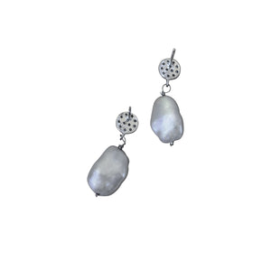 Priceless, Silver freshwater pearl, Sterling silver stud earrings
