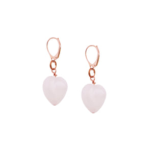 Esther's Heart, Rose Quartz Rose Gold vermeil earrings