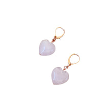 Load image into Gallery viewer, Esther's Heart, Rose Quartz Rose Gold vermeil earrings