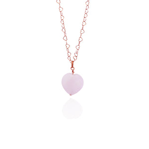Esther's Heart, Rose Quartz Rose Gold vermeil necklace
