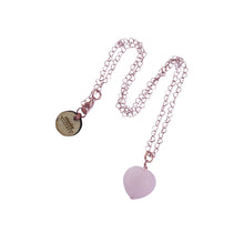 Load image into Gallery viewer, Esther's Heart, Rose Quartz Rose Gold vermeil necklace