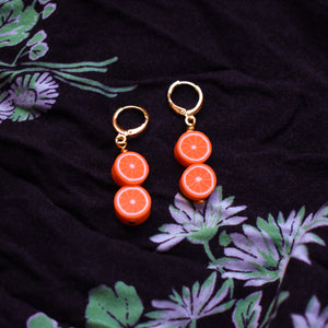 Double orange earrings