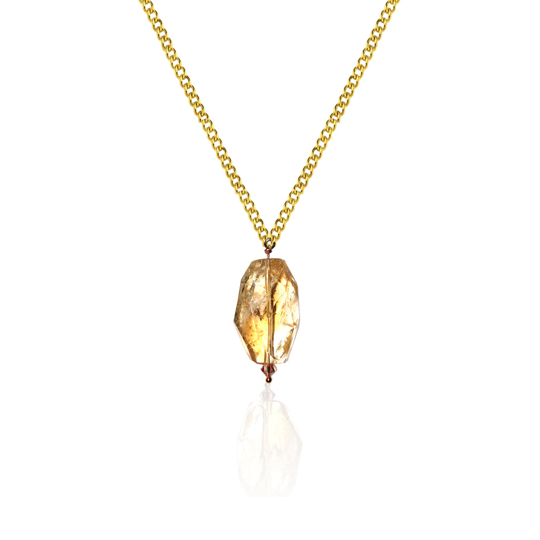 Limited Edition 9k yellow gold necklace and Amber handcrafted necklace