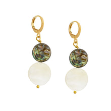 Load image into Gallery viewer, Abalone shell with coin pearls earrings